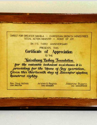 December 13, 1980 - Certificate of Appreciation for assistance in the Home of Joy Operation