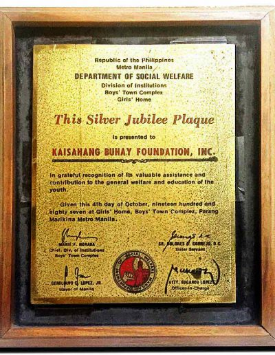 October 4, 1987 - Silver Jubilee Plaque