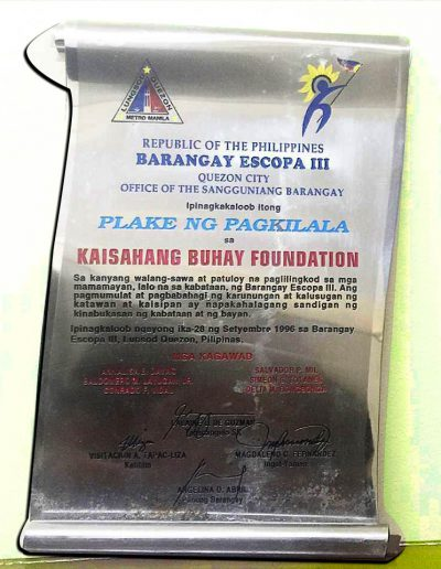 September 28, 1996 - Plaque of Recognition