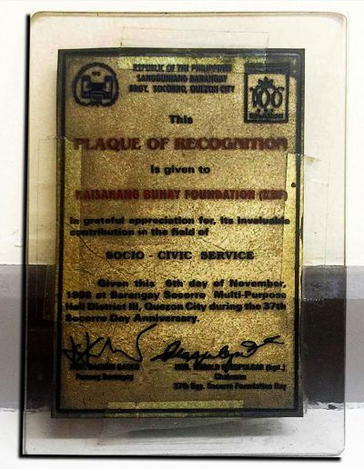 November 6, 1998 - Plaque of Recognition