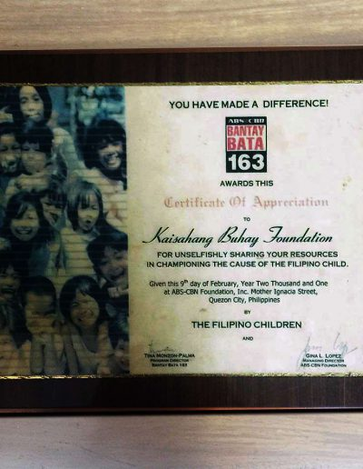 February 9, 2001 - Certificate of Appreciation