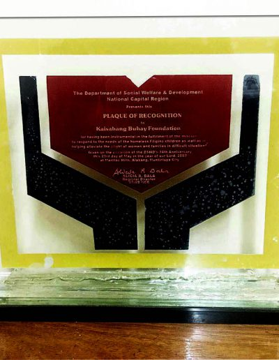 May 3, 2002 - Plaque of Recognition for responding to the needs of homeless Filipino children, women, and families in difficult situations