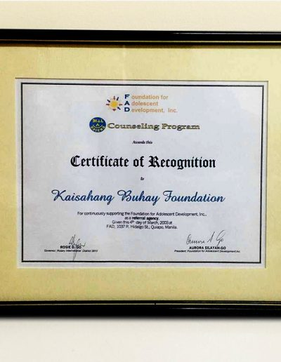 March 4, 2003 - Certificate of Recognition as a referral agency