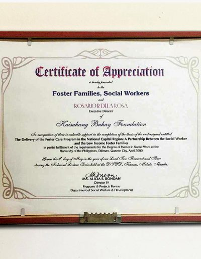 May 9, 2003 - Certificate of Appreciation for thesis The Delivery of Foster Care Program in the NCR A Partnership Between the Social Worker and the Low Income Foster families