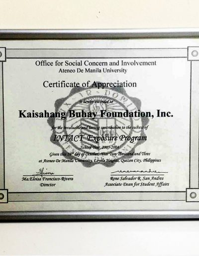 October 16, 2003 - Certificate of Appreciation - INTACT Exposure Program