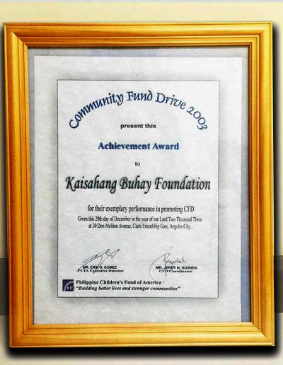 December20, 2003 - Community Fund Drive Achievement-Award