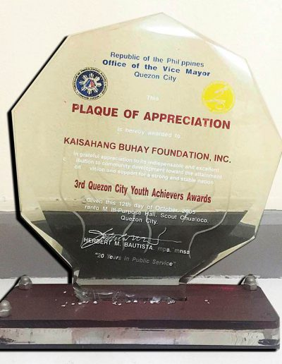 October 12, 2005 - Plaque of Appreciation
