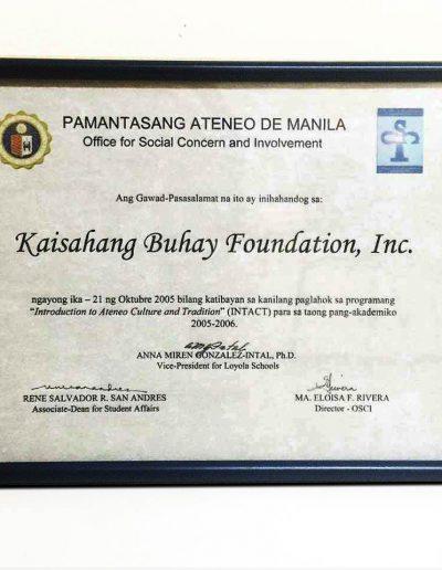 October 21, 2005 - Certificate of Appreciation