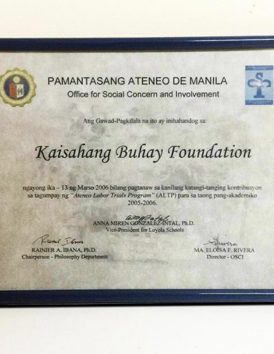 March 13, 2006 - Certificate of Recognition for the Ateneo Labor Trials Program (ALTP)