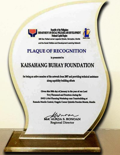 January 30, 2007 - Plaque of Recognition