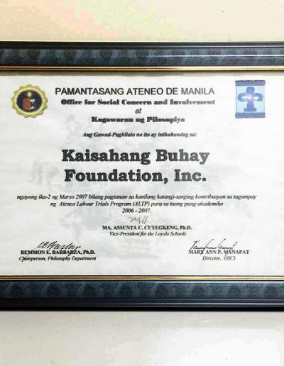 March 2, 2007 - Certificate of Recognition