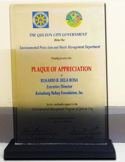 April 16, 2007 - Plaque of Appreciation for invaluable support to the Environmental Management Program of Quezon City