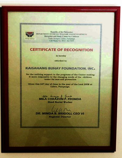June 24, 2008 - Certificate of Recognition