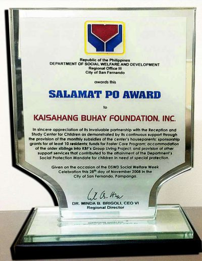 November 28, 2008 - Salamat Po (Thank You) Award