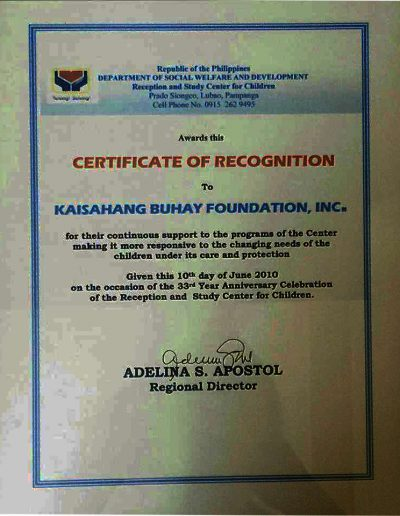 June 10, 2010 - Certificate of Recognition