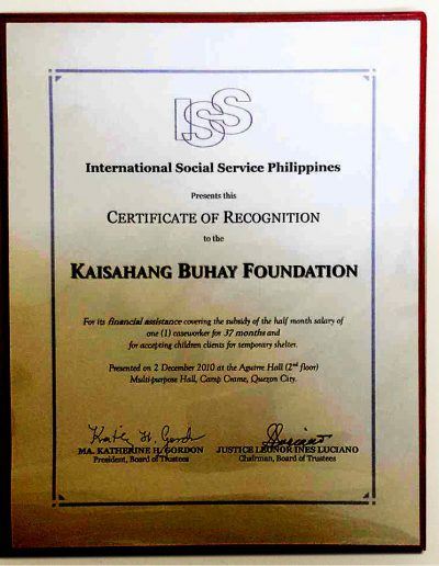 December 2, 2010 - Certificate-of-Recognition-for-financial-and-logistical-assistance