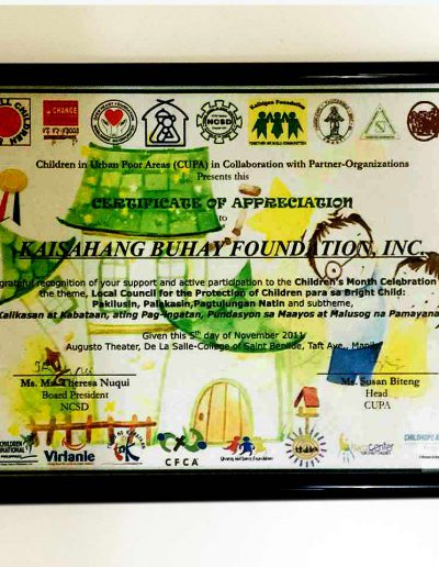 November 5, 2011 - Certificate of Appreciation for active participation in Children's Month