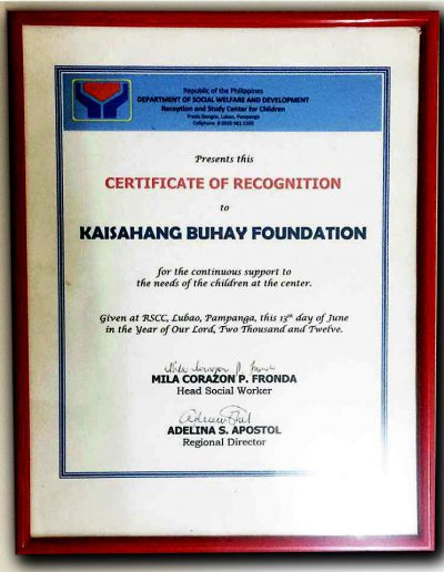 June 13, 2012 - Certificate of Recognition