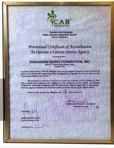February 5, 2013 - Certificate of Accreditation to Operate a Liason Service Agency