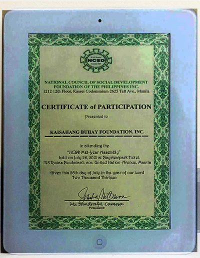 July 26, 2013 - Certificate of Participation in the NCSD Mid-Year Assembly