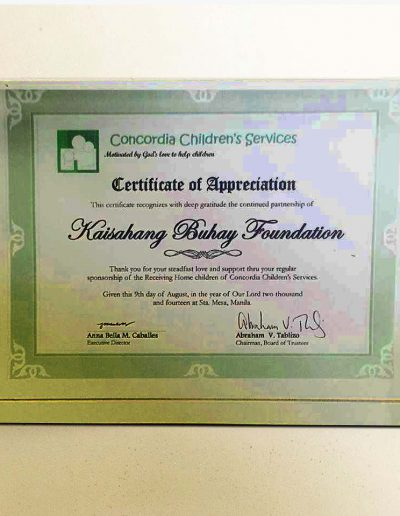 August 9, 2014 - Certificate of Appreciation for sponsorship of Receiving Home children