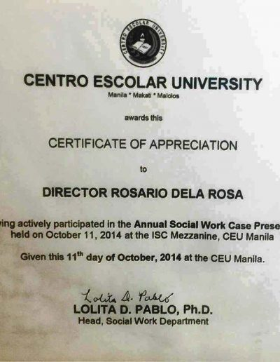 October 11, 2014 - Certificate of Appreciation in the Annual Social Work Case Presentation
