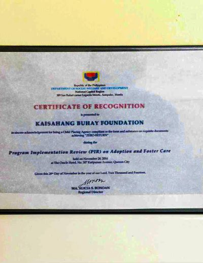 November 28, 2014 - Certificate of Recognition for Program Implementation Review (PIR) on Adoption and Foster Care