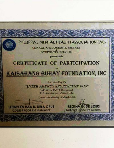 March 26, 2015 - Certificate of Participation