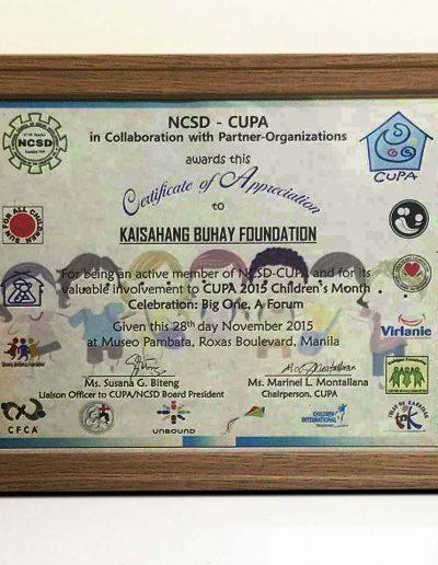 November 28, 2015 - Certificate of Appreciation