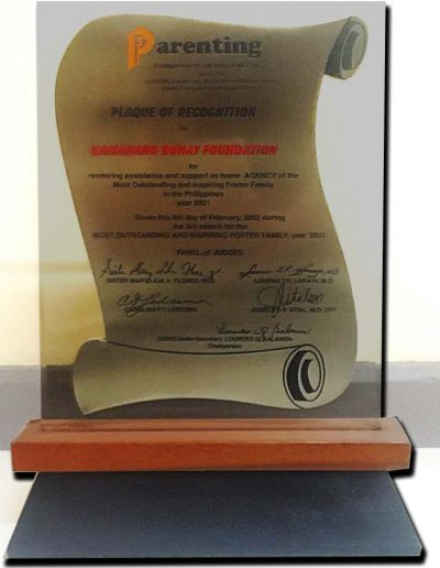 February 9, 2016 - Plaque of Recognition as home agency of the Most Outstanding and Inspiring Foster Family in the Philippines