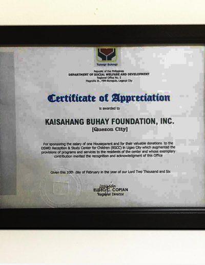February 10 2006 - Certificate-of-Appreciation