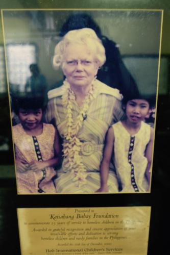 Grandma Bertha Holt, co-founder of Holt International, set up Family & Child Services of the Phils. in 1976 which later was renamed Kaisahang Buhay Foundation Inc.