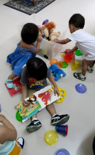 Foster children at the play area