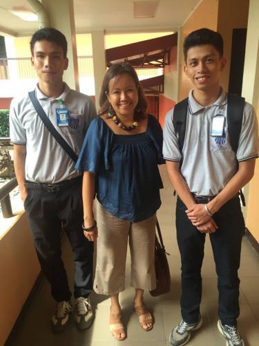Two ilea boy scholars at dualtech school with KBF Board Member Ms. Rose Cabrera